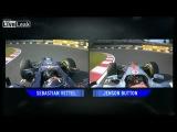 Результаты гонки болидов Формула 1 с отрывом на доли секунды